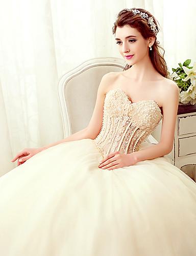 Trapèze Sans Bretelles Longueur Sol Tulle Robe de mariée avec Billes Perle Appliques par Yuanfeishani