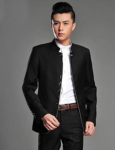 Preto / Cinzento Sólido Fino Viscose Terno - Colarinho Mandarim Comum Mais Botões / Suits