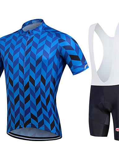 cheap Cycling Clothing-Fastcute Men's Short Sleeve Cycling Jersey with Bib Shorts - Black Plus Size Bike Bib Shorts Jersey Bib Tights Breathable Quick Dry Sweat-wicking Sports Polyester Lycra Herringbone Mountain Bike MTB