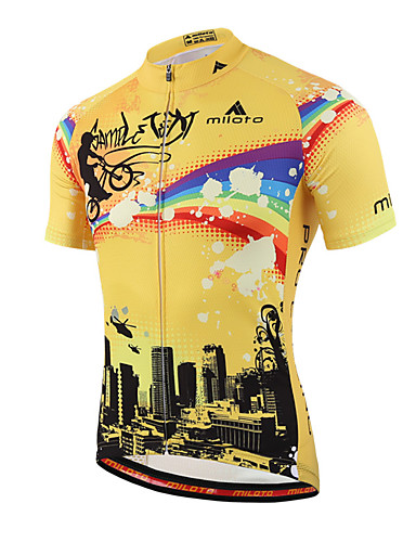 cheap Cycling Clothing-Miloto Men's Short Sleeve Cycling Jersey Stripes Bike Shirt Sweatshirt Jersey Breathable Quick Dry Reflective Strips Sports 100% Polyester Mountain Bike MTB Road Bike Cycling Clothing Apparel