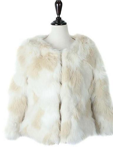 Vrouwen Street chic Winter Bontjas,Casual/Dagelijks Ronde hals-Lange mouw Wit Effen Dik Imitatiebont