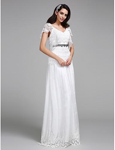 A-Şekilli V-Yaka Yere Kadar Dantelalar Düğün elbisesi ile Boncuklama Dantel tarafından LAN TING BRIDE®