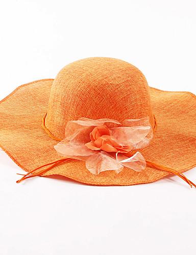 Mujer Lino Sombrero para el sol - Vacaciones Un Color