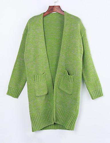 Для женщин Винтаж Очаровательный Обычный Кардиган Однотонный,Бежевый Зеленый Фиолетовый Круглый вырез Длинный рукав Хлопок Лён Другое Зима