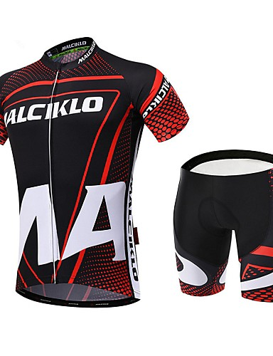 cheap Cycling Clothing-Malciklo Men's Short Sleeve Cycling Jersey with Shorts - Red / black Dots Bike Clothing Suit Breathable 3D Pad Quick Dry Back Pocket Sports Coolmax® Lycra Dots Mountain Bike MTB Road Bike Cycling