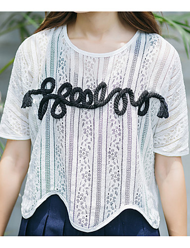 1/2 ærmelængde Rund hals Gennemsigtig Kvinders Hvid Patchwork Sommer Simpel Casual/hverdag T-shirt,Polyester