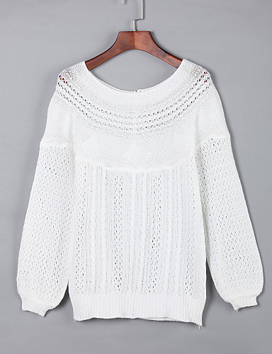 Women's Long Sleeves Pullover - Solid Boat Neck