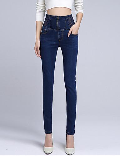 Kvinders Simpel / Street Jeans Bukser Mikroelastisk Bomuld / Spandex