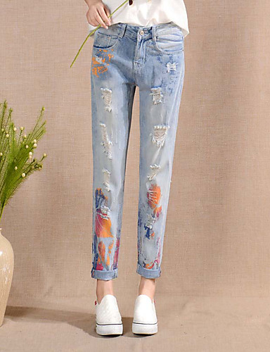 Kvinders Simpel Harem Bukser Uelastisk Polyester