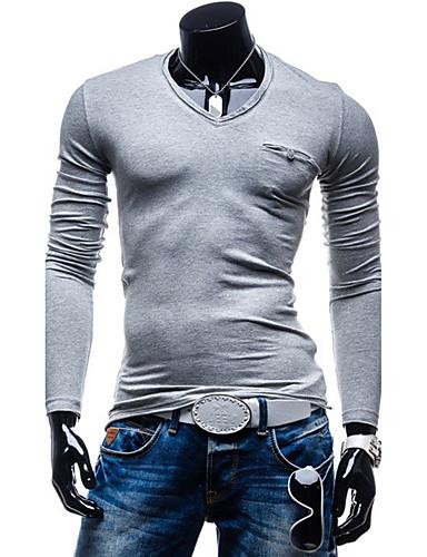 Herrn Solide Alltag / Sport Baumwolle T-shirt / Langarm
