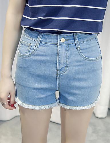 Damer Enkel Mikroelastisk Shorts Jeans Bukser,Højtaljede Ensfarvet