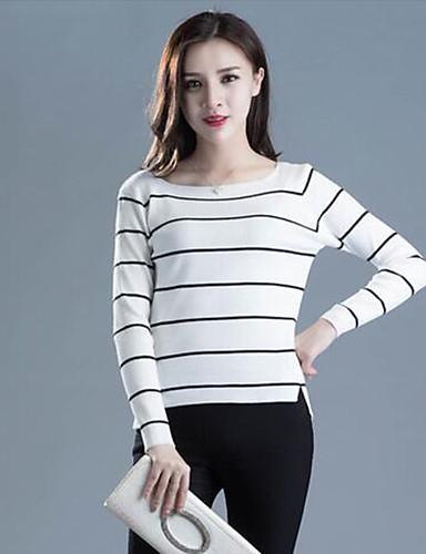 Damen Standard Pullover-Lässig/Alltäglich Street Schick Gestreift Weiß Schwarz Rundhalsausschnitt Langarm Baumwolle Frühling Herbst Mittel