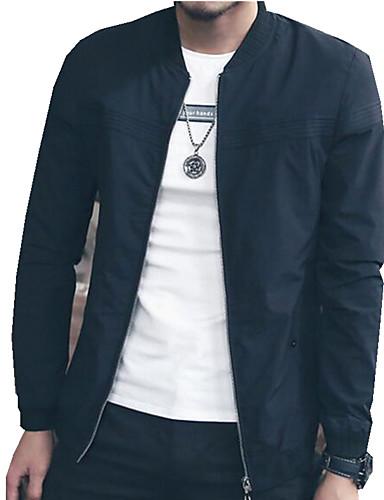 男性用 プレイン カジュアル ジャケット,長袖,コットン / ポリエステル,ブラック / ブルー