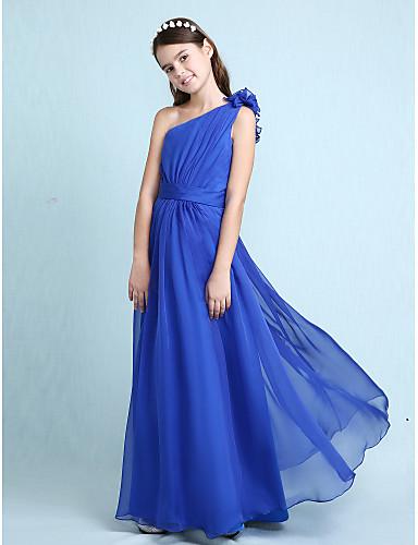 cheap Junior Bridesmaid Dresses-A-Line   Princess One Shoulder Floor Length  Chiffon Junior f6d829f6e27e
