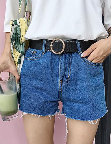 Kvinders Simpel Shorts / Jeans Bukser Mikroelastisk Bomuld