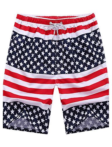 Masculino Reto Shorts Calças,Estampado Poliéster Verão