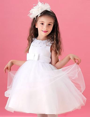 vestido de menina de flor de joelho de uma linha de joias - colar de jóias sem mangas de tule com beading by lovelybees