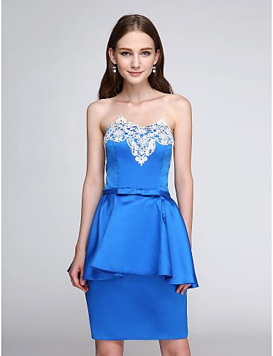 מעטפת \ עמוד סטרפלס קצר \ מיני סאטן נמתח מסיבת קוקטייל סיום לימודים נשף שמלה עם אפליקציות על ידי TS Couture®