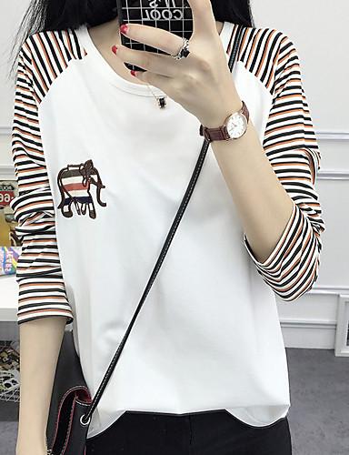 Damen Gestreift T-shirt Druck Baumwolle