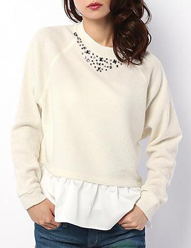 Langærmet Rund hals Medium Kvinders Hvid / Sort / Grå Patchwork Forår / Efterår Sødt I-byen-tøj / Casual/hverdag T-shirt,Polyester