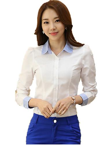 Dames Grote maten - Overhemd Katoen, Werk Kleurenblok Geborduurd Overhemdkraag
