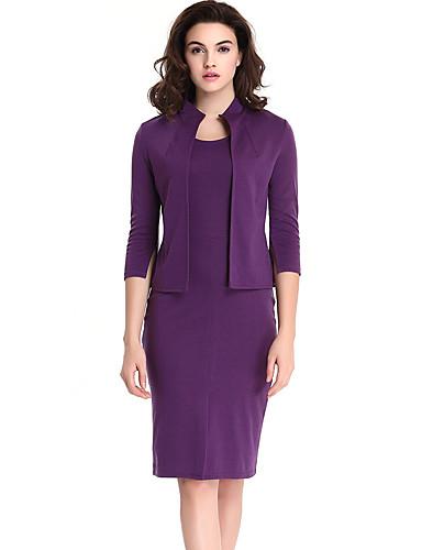 Mujer Trabajo Tallas Grandes Corto Blusa Conjunto - Un Color Cuello Barco Falda