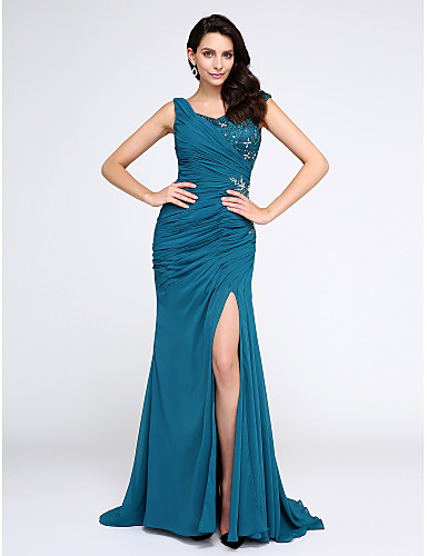 0751299f2db Mermaid / Trumpet V Neck Sweep / Brush Train Chiffon Sparkle & Shine Formal  Evening Dress with Crystals / Side Draping by TS Couture®