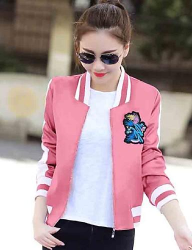 Feminino Jacket Bomber Casual Moda de Rua Outono,Estampado Curto Poliéster Colarinho Chinês Manga Longa