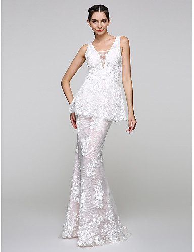 Mermaid / Trumpet V-neck Floor Length Lace Homecoming Prom Formal Evening Dress with Appliques Lace by TS Couture®