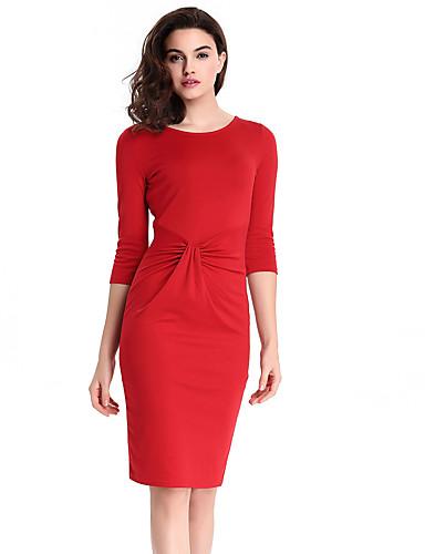 Mulheres Bandagem Vestido,Casual / Trabalho / Tamanhos Grandes Moda de Rua Sólido Decote Redondo Altura dos Joelhos Manga ¾ Vermelho