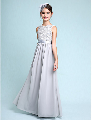 Sheath   Column Bateau Neck Floor Length Chiffon   Lace Junior Bridesmaid  Dress with Lace by LAN TING BRIDE®   Natural 7cd25398de07
