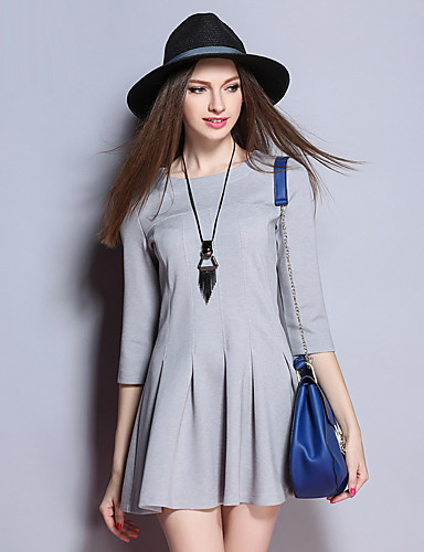 sybel kvinders gå ud / sød kappe kjole, solid rund hals mini ¾ ærme