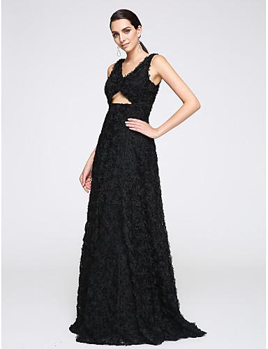 A-Şekilli V-Yaka Yere Kadar Tül Resmi Akşam Elbise ile Çiçek(ler) tarafından TS Couture®