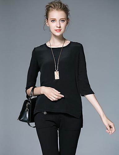 AFOLD® Dame Rund hals 1/2 Length Sleeve T skjorte Svart Fade / Ivory-6030