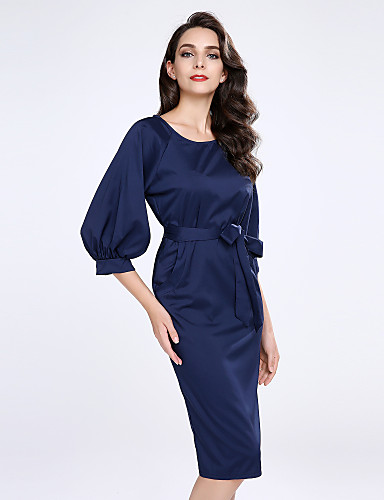 Women's Plus Size Going out Lantern Sleeve Sheath Dress - Solid Colored