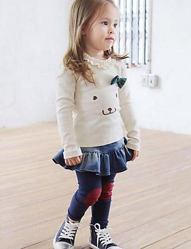 Menina de Jeans / Conjunto,Casual Patchwork Algodão Primavera / Outono Rosa / Branco