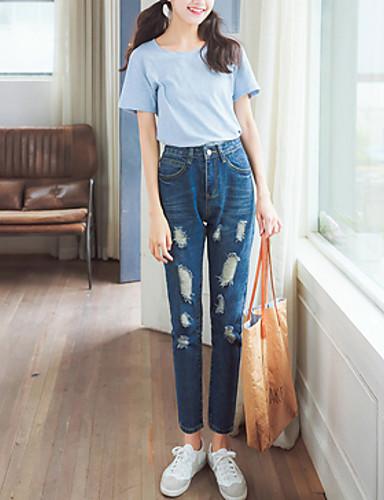 Kvinders Simpel Jeans Bukser Uelastisk Bomuld / Polyester