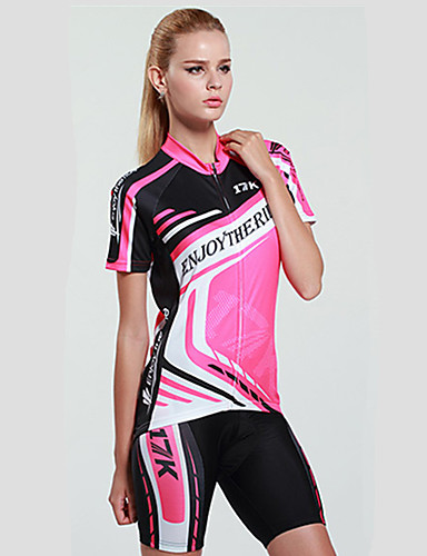 cheap Cycling Clothing-Mysenlan Women's Short Sleeve Cycling Jersey with Shorts - Peach Bike Clothing Suit, Breathable, Quick Dry, Ultraviolet Resistant Polyester Stripe / Advanced Sewing Techniques / Italy Imported Ink