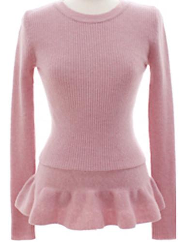 Dame Simpel Casual/hverdag Normal Pullover Ensfarvet,Rosa / Sort Rund hals Langærmet Bomuld Forår Medium