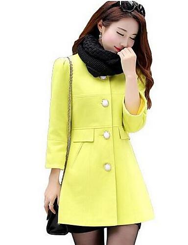 Damen Solide Einfach Lässig/Alltäglich Mantel,Winter Rundhalsausschnitt ¾-Arm Rosa / Beige / Gelb Mittel Polyester