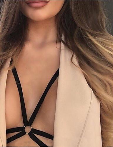 Kvinders Ultrasexet Nattøj,Sexy Ensfarvet-Tynd Nylon Sort Damer