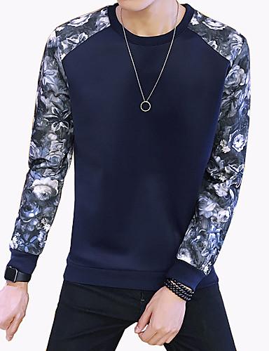Herre Plusstørrelser Sweatshirt - Farveblok, Trykt mønster