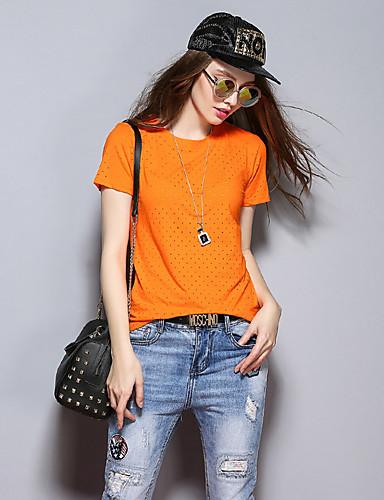 sybel naisten vapaa-ajan / päivittäin yksinkertainen kesä t-paita, kiinteä pyöreä kaula lyhythihainen keltainen puuvilla keskipitkän