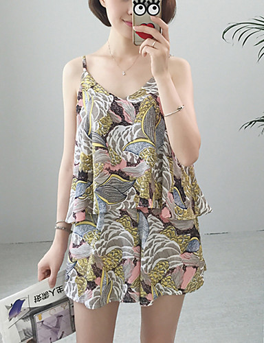 Vrouwen Eenvoudig Zomer Set,Casual/Dagelijks Print Bandje Mouwloos Grijs Polyester / Nylon Medium