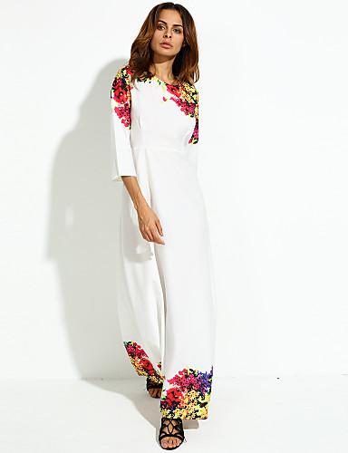 Γυναικείο Αργίες Απλό Swing Φόρεμα,Φλοράλ 3/4 Μήκος Μανικιού Στρογγυλή Λαιμόκοψη Μακρύ Πολυεστέρας Άνοιξη Φθινόπωρο Κανονική Μέση
