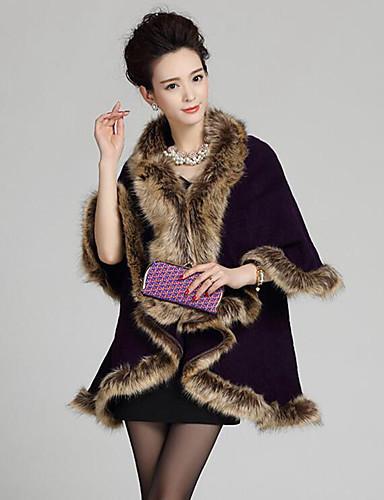 Dames Feest Vintage Lang Cloak / Capes Patchwork-V-hals Lange mouw Wol Acryl Winter Lente Herfst Medium Micro-elastisch