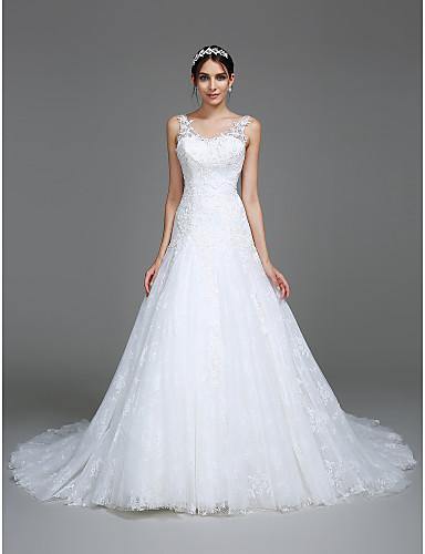 Sereia Decote V Cauda Capela Tule Vestido de casamento com Apliques de LAN TING BRIDE®