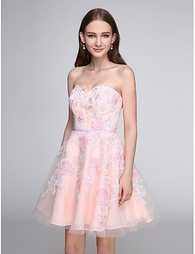 A-Line Sweetheart Short / Mini Tulle Cocktail Party Homecoming Prom Dress with Appliques by TS Couture®