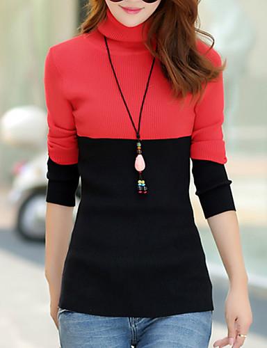 Dame Street I-byen-tøj / Casual/hverdag Normal Pullover Farveblok,Rød / Grøn / Gul Rullekrave Langærmet Bomuld Forår / Efterår Medium