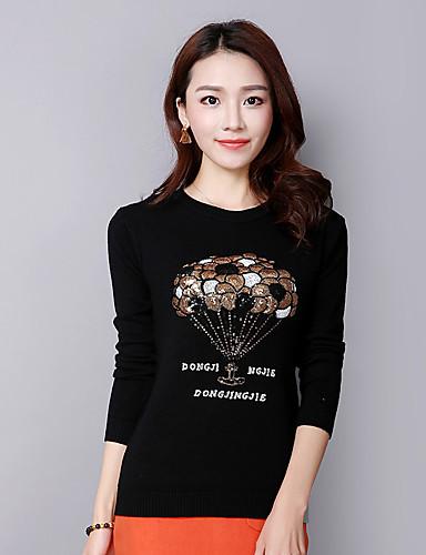 Dames Casual/Dagelijks Street chic Normaal Pullover Print-Rood Beige Zwart Grijs Geel Ronde hals Lange mouw Katoen Herfst Winter Medium